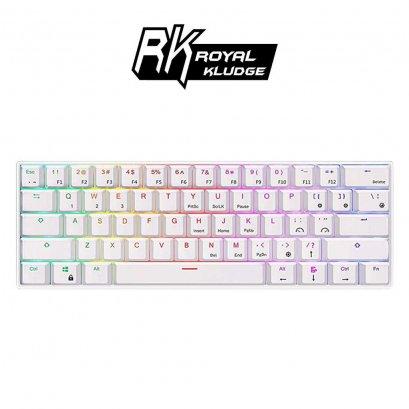 Royal Kludge RK61 White-สีขาว คีย์บอร์ดเกมมิ่ง แบบไร้สายบลูทูธและมีสาย Dual mode เลเซอร์ คีย์ไทย - English